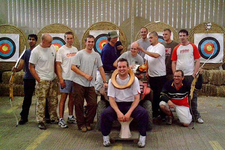 stag party weekend doing archery