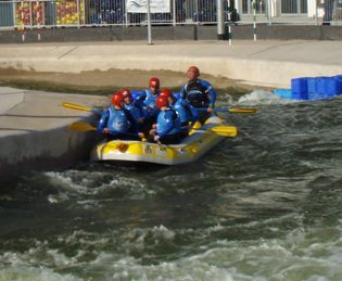 Rafting on white water in wales