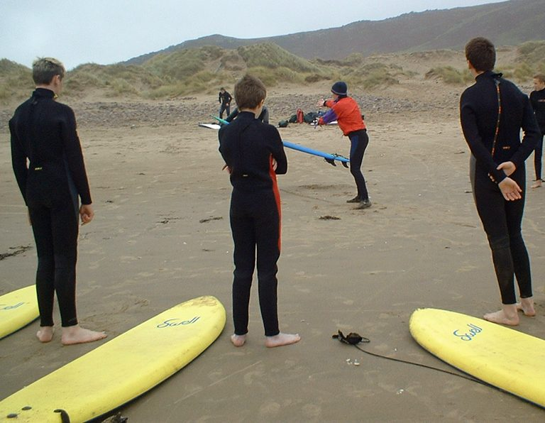Surfing group on Gower, Wales