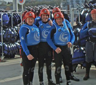 Activity group kitted out for white water rafting